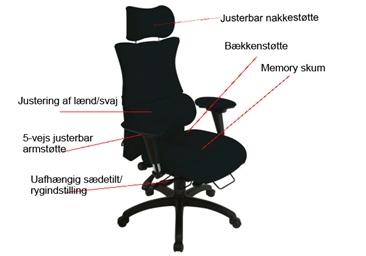 Billede viser ergonomisk kontorstol
